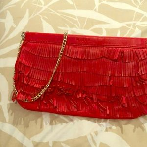 Clutch w/gold chain Leather purse